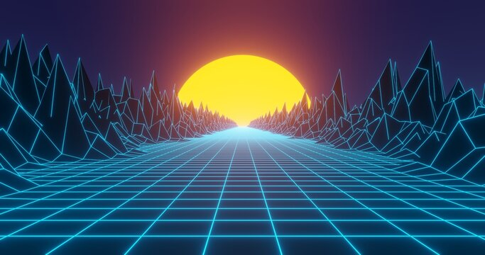 Retro background in 80s and 90s style. Seamless cyberpunk pattern of movement towards the sun. Neon landscape of mountains on a background of sunset. Illustration in retro wave and vintage style.