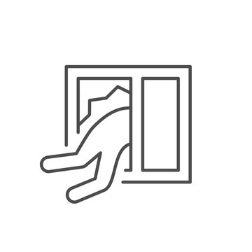 Home robbery line outline icon
