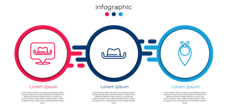 Set line Location cowboy, Western hat and Cowboy bandana. Business infographic template. Vector.
