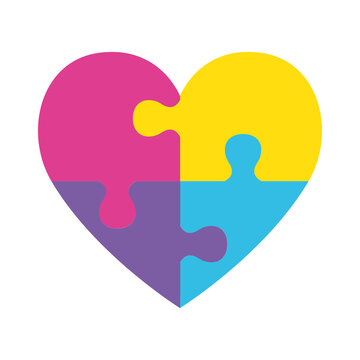 heart with puzzle game piece vector illustration design