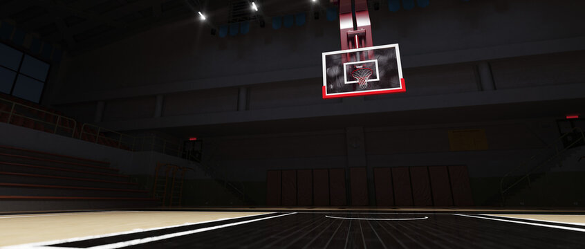 Empty Basketball court. Sport arena. 3d render background