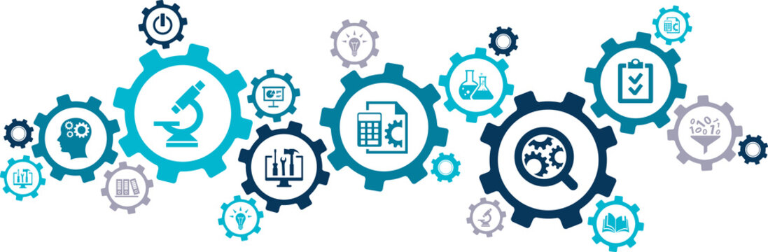 Research & development vector illustration. Concept with connected icons related to project management, product design or engineering, business development, r&d process using technology, engineering.