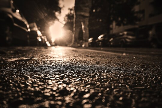 Surface Level Of Road In City During Sunset
