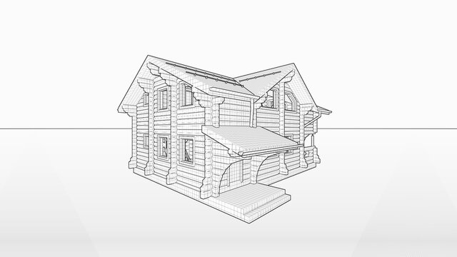 wooden tiny house, cottage, villa made of gun carriage. Black-and-white picture of a house project on an isolated background with a horizon border