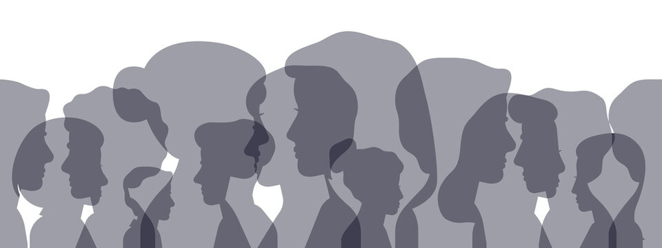 Profile silhouettes. Male and female face heads silhouettes concept banner. People avatar profile portraits vector illustration. Silhouette female and male, profile face user anonymous