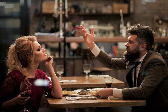 Bad date of couple, dislike and divorce. Anger of woman and man. Break up relations and love. Couple with misunderstanding at restaurant. Married life.