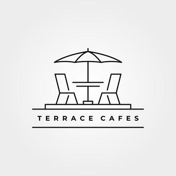 terrace icon line art logo vector minimalist illustration design