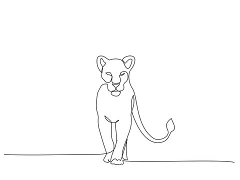 Lioness Standing. Continuous one line drawing art.
