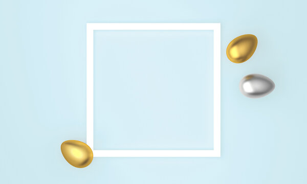 Golden and silver Easter eggs on blue pastel background, white frame with space for text. 3D Rendering