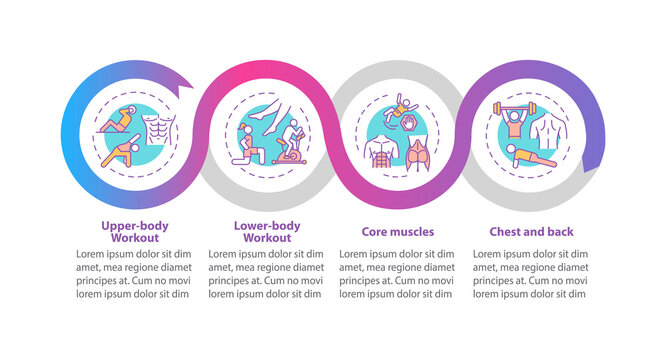 Exercising types vector infographic template. Upper-body workout, core muscles presentation design elements. Data visualization with 4 steps. Process timeline chart. Workflow layout with linear icons