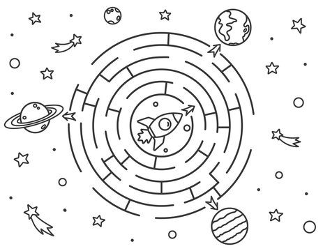Space maze puzzle or Labyrinth game for kids. Coloring page with Tangled road. Outline cartoon rocket must find a way to the planets of the solar system. Coloring book for kids. Vector illustration