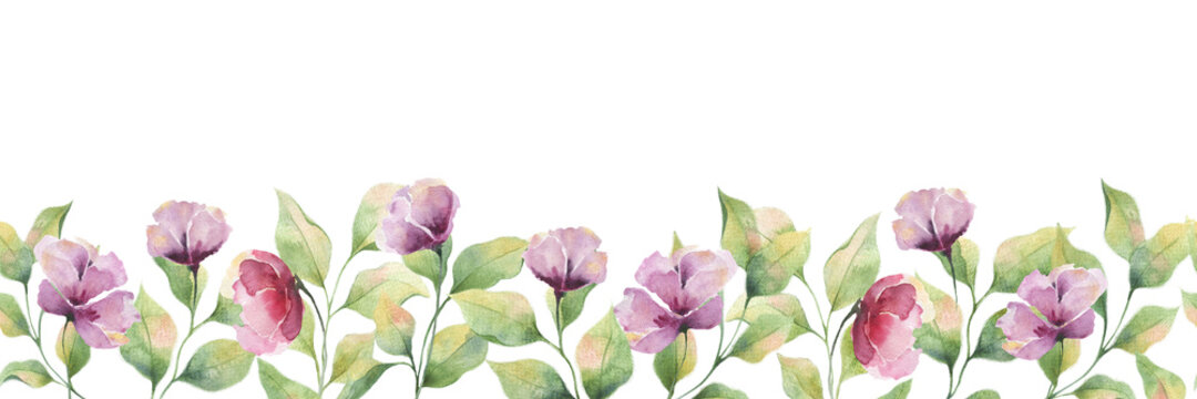 Seamless watercolor border with purple large flowers and leaves on a white background, summer flower illustration for postcards, wedding decoration, packaging