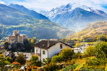 Beautiful medieval castles of Valle d'Aosta- Saint Pierre, northen Italy