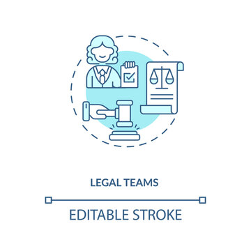 Legal teams concept icon. Contract management advices for software users. Organisation accountable decisions idea thin line illustration. Vector isolated outline RGB color drawing. Editable stroke