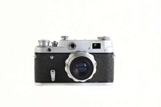The very rare old rangefinder film camera on white background.