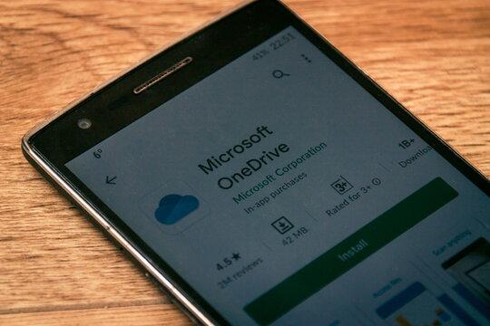Batumi. Georgia - January 23, 2021: Microsoft OneDrive app on the smartphone