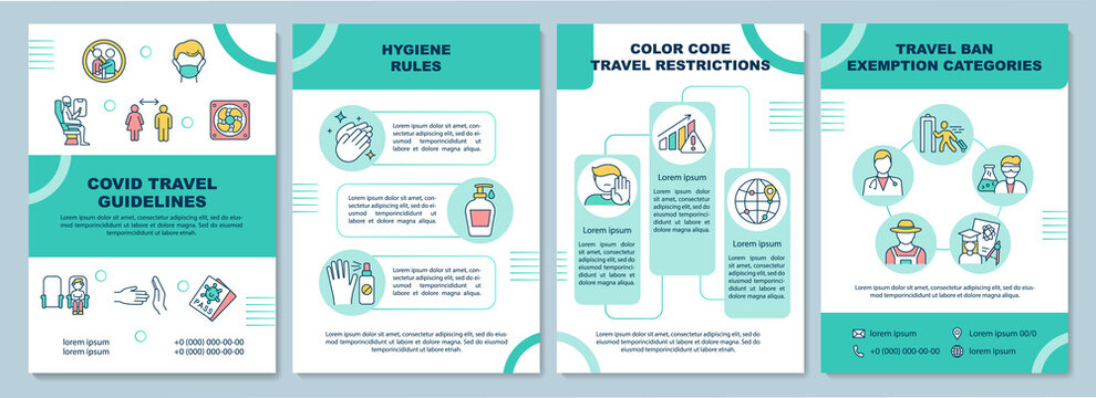 Covid travel guidelines brochure template. Social distance of landing. Flyer, booklet, leaflet print, cover design with linear icons. Vector layouts for magazines, annual reports, advertising posters
