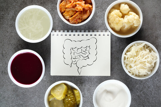 Natural probiotics for healthy bowel. Probiotic as sauerkraut, pickled cauliflower, pickled cucumber, sauerkraut juice, kimchi, beetroot leaven and yoghurt.