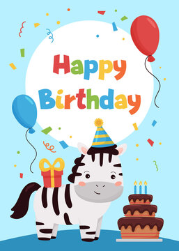 Happy Birthday greeting card with cute cartoon zebra, cake, balloons and gift. Cards template for invitations and postcards. Vector illustration.