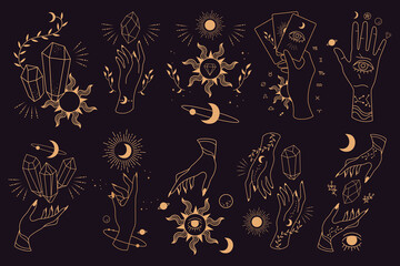 Fototapeta Big set of magic and astrological symbols. Hand poses. Mystical signs, silhouettes, zodiac signs, tarot cards. Vector illustration. Witchcraft art. Stickers, banner, decorations. Esoteric aesthetics.  obraz