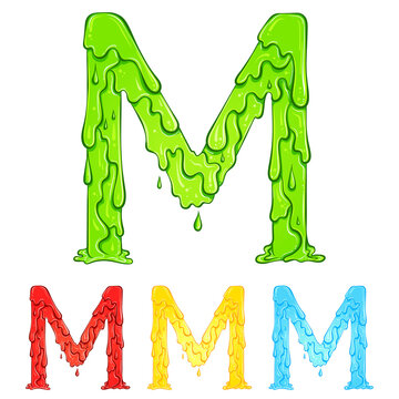 Letter M with flow drops and goo splash. Color illustration of the symbol m in four colors green, red, yellow, blue. Dripping liquid. Vector font in hand drawn style isolated on white background.