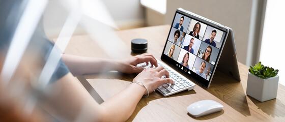 Fototapeta Online Video Conference Webinar Call obraz
