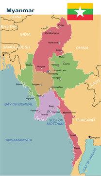 Myanmar map. (Burma )