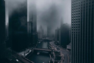 Aerial View Of Skyscrapers In Foggy Weather