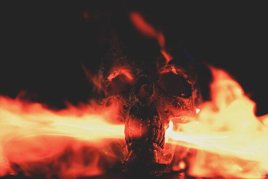 A blurry photo of a fire. High quality photo