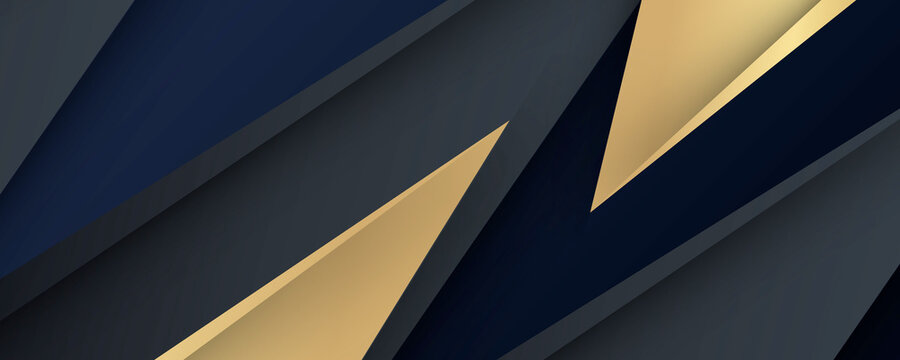 Background of abstract triangle shape and lights. gold blue  and black. de focused. banner black grunge corporate abstract background with golden lines. Vector banner design