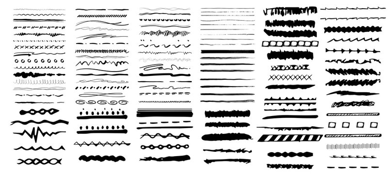 Set of artistic pen brushes. Vintage doodle underlines. Hand drawn grunge strokes. Scribble marker borders, sketch underlines. Vector illustration