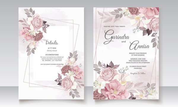 Brown wedding invitation template set with floral frame Premium Vector
