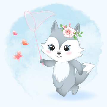 Cute little fox and catching butterflies with net illustration