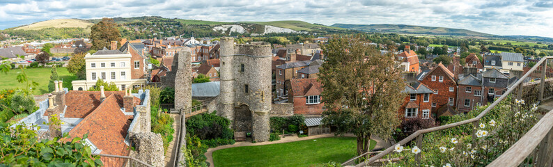 Panorama of Norman Lewes Castle conservation area at Wallands Park, East Sussex county town with city landscape in background.