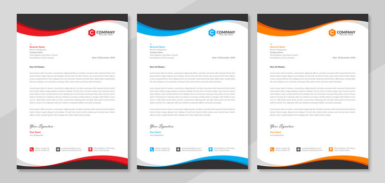 Professional letterhead template design for business project. Corporate letterhead document with company logo & icon. Official letterhead layout with abstract geometric background.