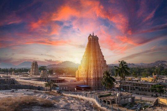 Stunning view at Sree Virupaksha Temple in Hampi on the banks of Tungabhadra River, UNESCO World Heritage Site, Karnataka, India. Indian tourism