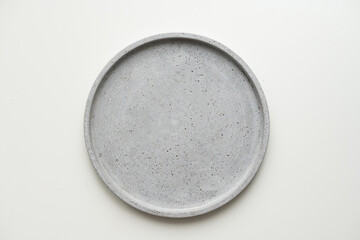 Fototapeta Empty ceramic plate, gray round tray plate isolated on white background with clipping path obraz