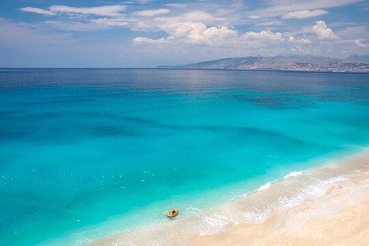 amazing beach with azure sea between Saranda and Ksamil in south Albania