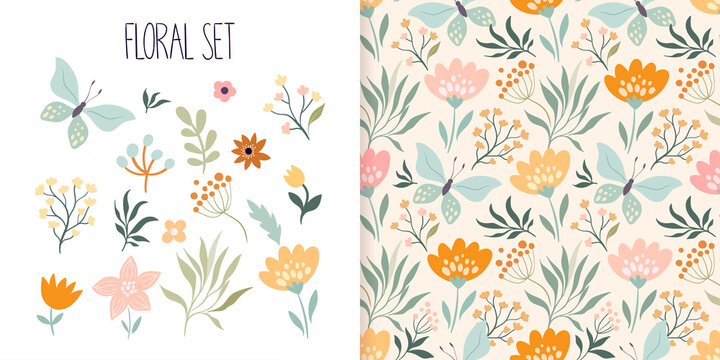 Spring, summer floral set with seamless pattern and different flowers and plants collection