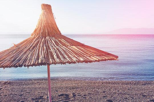 Bodrum Bitez Beach With Straw Umbrella - Aegean Sea