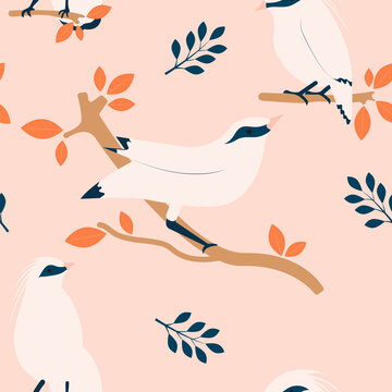 Tropical seamless pattern with Bali myna and plants.