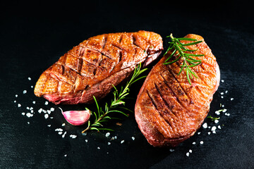 Close up of roasted duck breast fillet