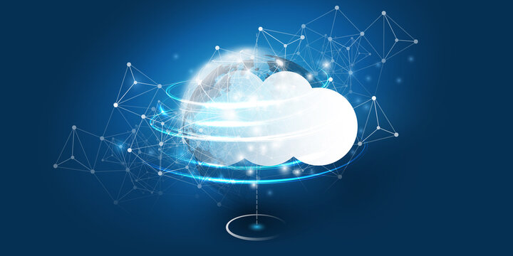 Abstract Blue Cloud Computing, Networks, Telecommunications Concept Design with Polygonal Mesh, Glowing Clusters of Nodes Around the Earth - Vector Illustration