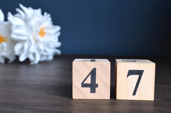 Number 47, rating, award, Empty cover design in natural concept with a number cube and peony flower on wooden table for a background.