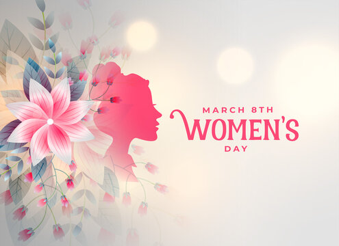 happy womens day flower decorative card design