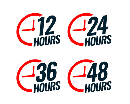 various time stickers with time 12, 24, 36 and 48 hours