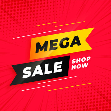 mega sale red banner template in ribbon style