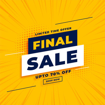 final sale yellow banner with offer details