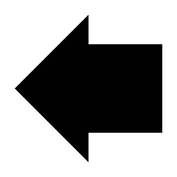 Left arrow symbol icon vector for web and application in a black flat color pictogram illustration