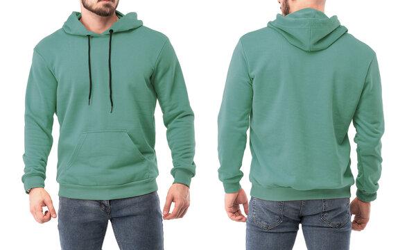 Young bearded man standing in colorful hoodie mock up. Sweatshirt on a man design template. Man with beard wears streetwear